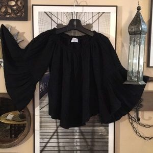Black Bead off shoulder bell sleeve blouse Med